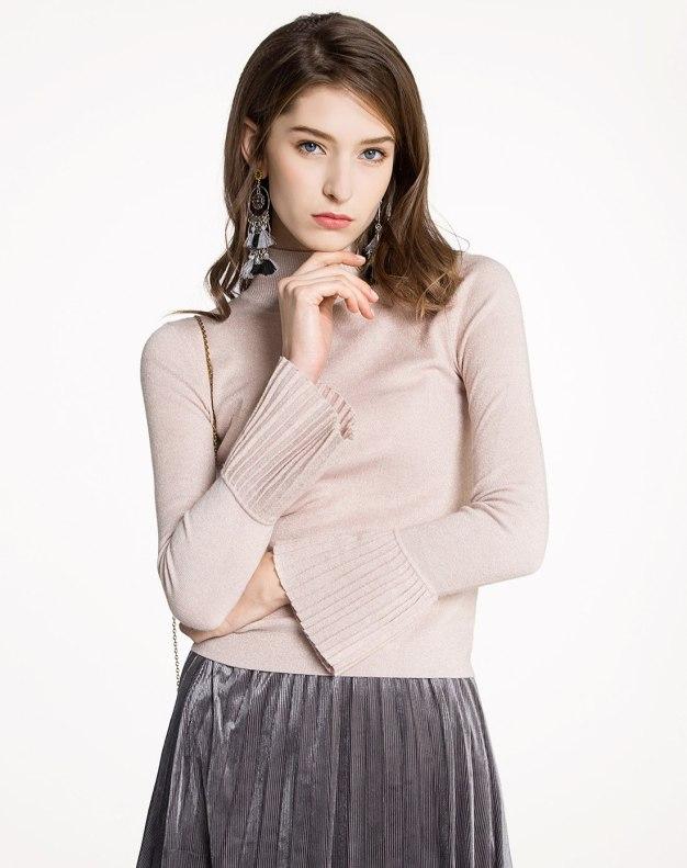 Pink Plain Half High Collar Elastic Tight Women's Knitwear