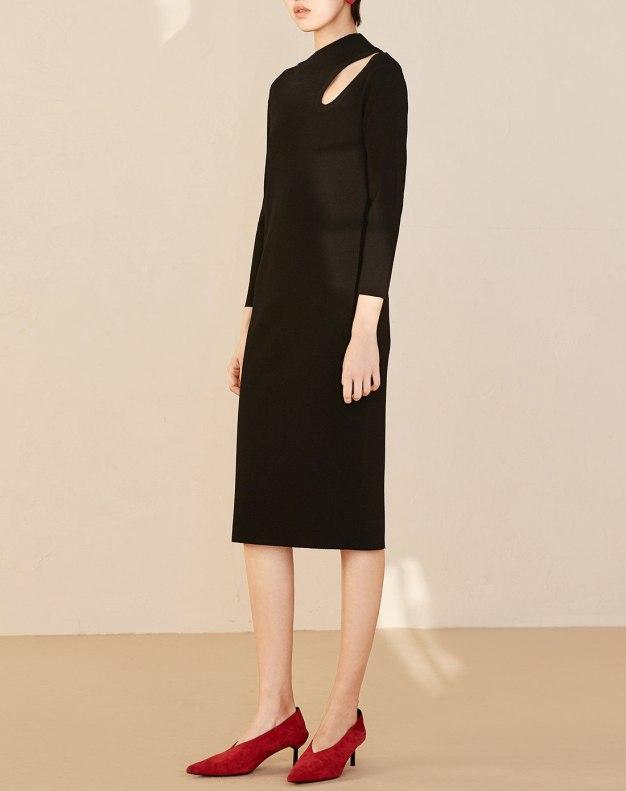블랙 크롭 슬리브 랩스커트 여성 드레스