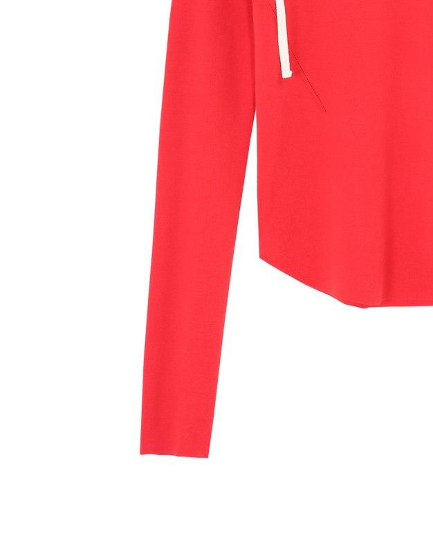 레드 단색의 긴소매 슬림핏 여성 니트