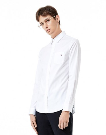 White Color Block Lapel Long Sleeve Fitted Men's Shirt