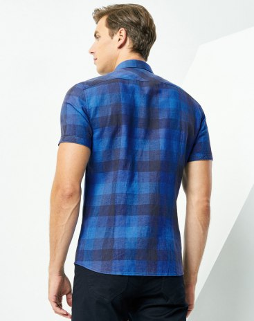 Blue  Square Neck Short Sleeve Standard Men's Shirt