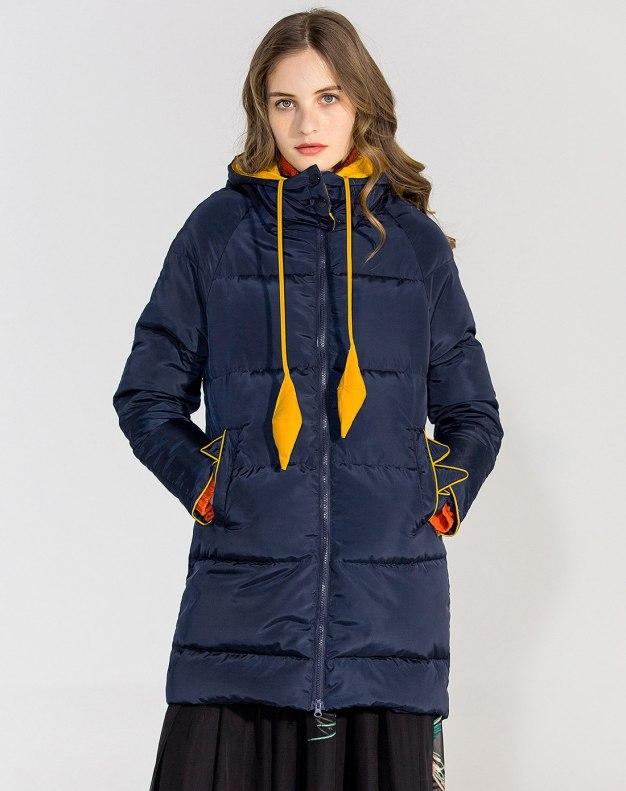 Blue Collarless Standard Warm Women's Down Jacket