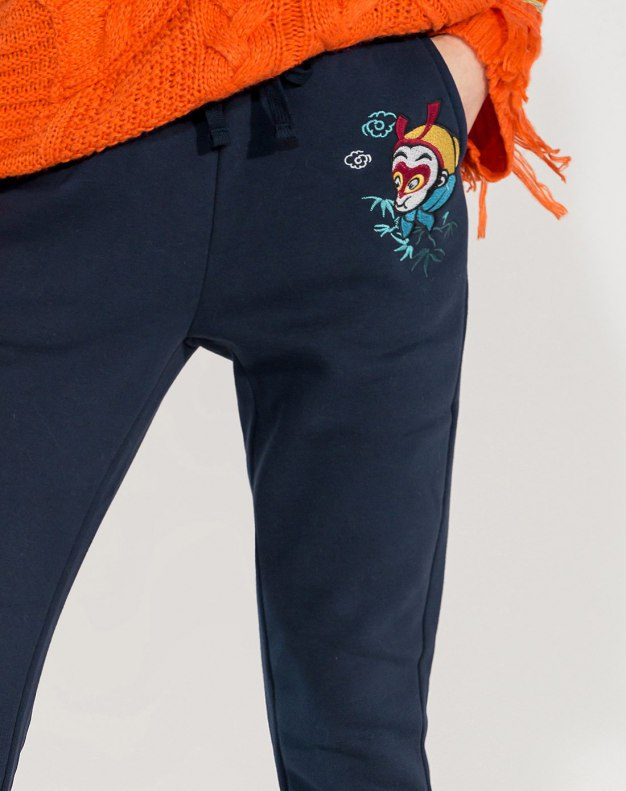 Blue Embroidery Long Women's Pants
