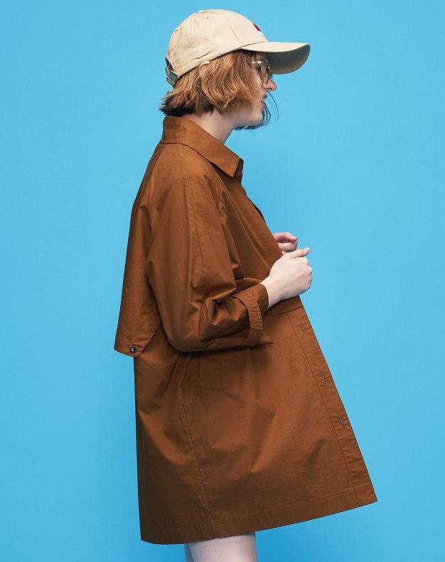 Lapel Buckle Loose Long Sleeve Women's Windbreaker