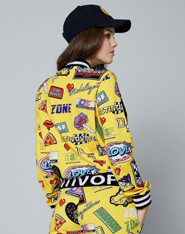 옐로우 만화 지퍼 긴소매 표준 여성 아우터