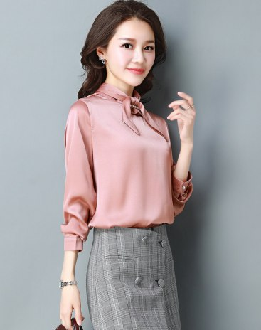 Pink Plain Stand Collar Elastic Long Sleeve Fitted Women's Shirt
