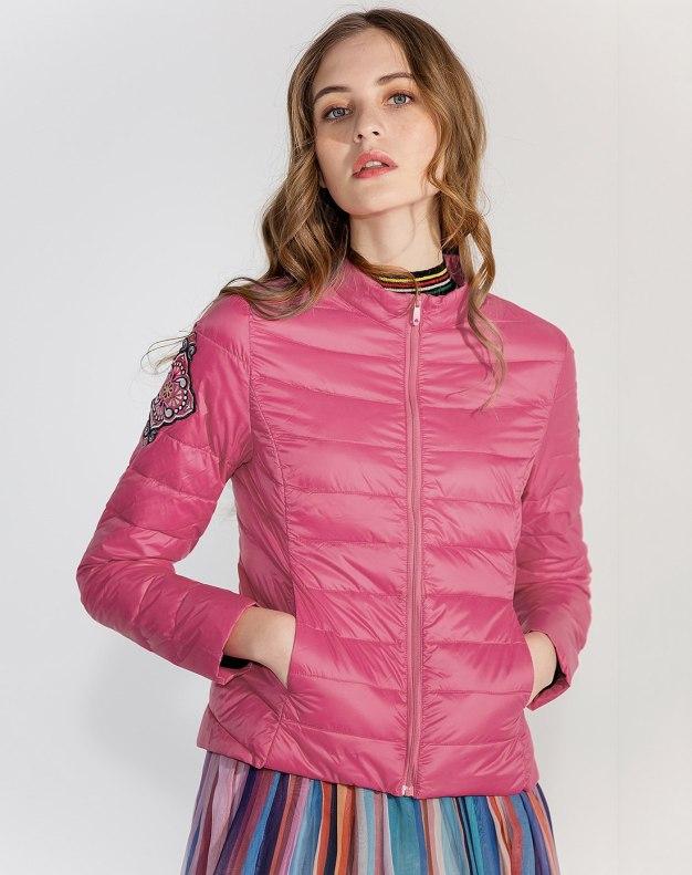 Red Stand Collar Standard Warm Women's Down Jacket