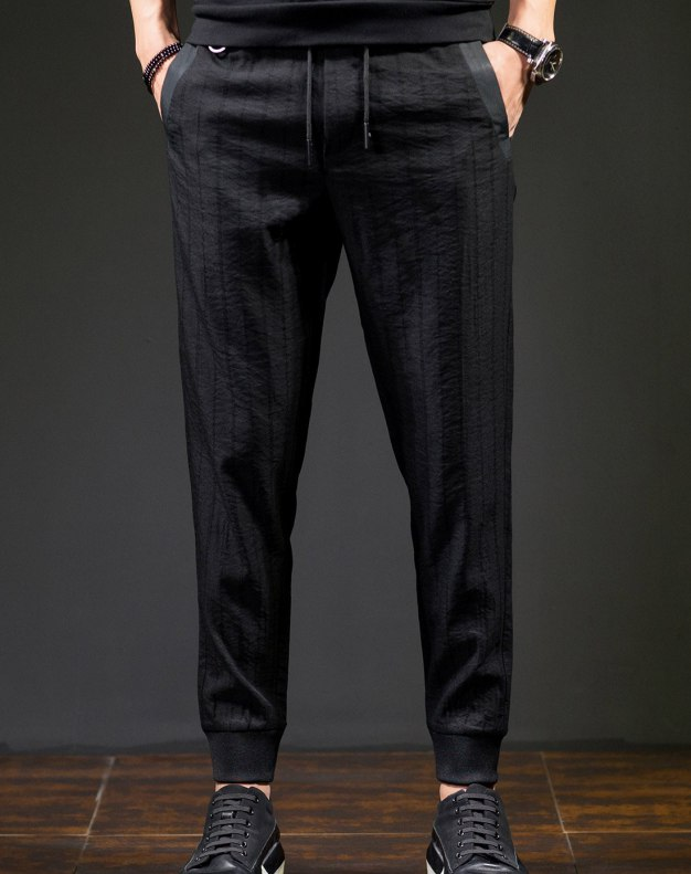 Black Siukhaf Light Elastic Fitted Long Men's Pants