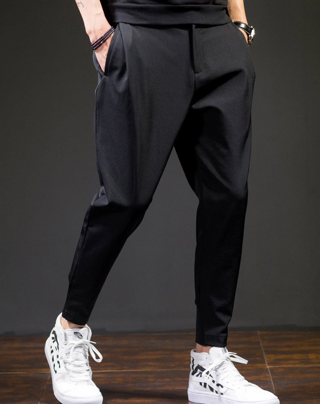 Black Siukhaf Light Elastic Loose Long Men's Pants