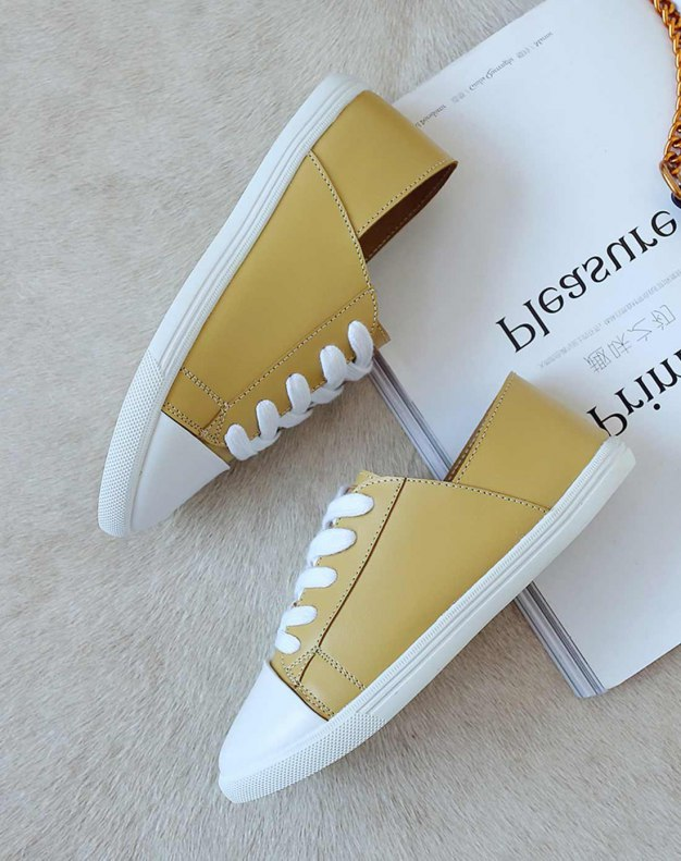 Yellow Round Head Flat Women's Casual Shoes