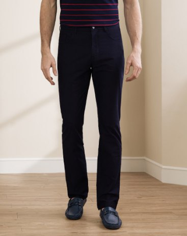 Blue  Light Elastic  Fitted Long Men's  Pants