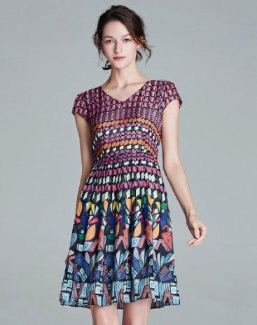 Purple V Neck Short Sleeve 3/4 Length A Line Women's Dress