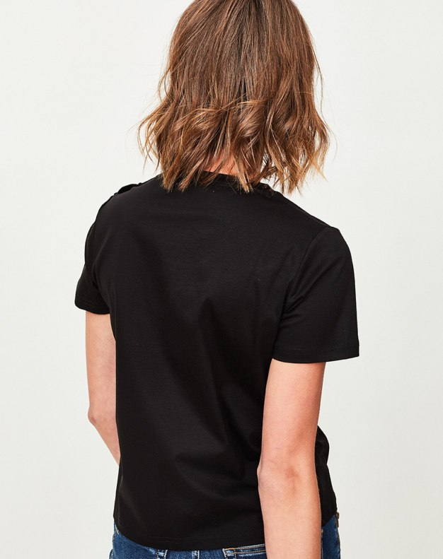 Black Round Neck Short Sleeve Fitted Women's T-Shirt