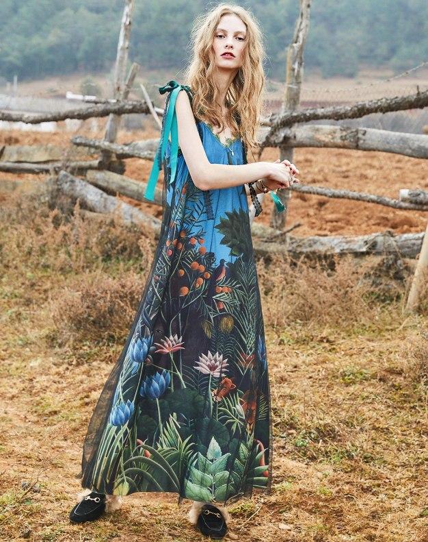Colourful V Neck Sleeveless Long Standard Women's Dress