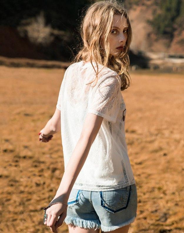 White Regular Collar Elastic Short Sleeve Women's Shirt