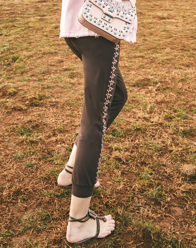 Brown Embroidery Long Women's Pants