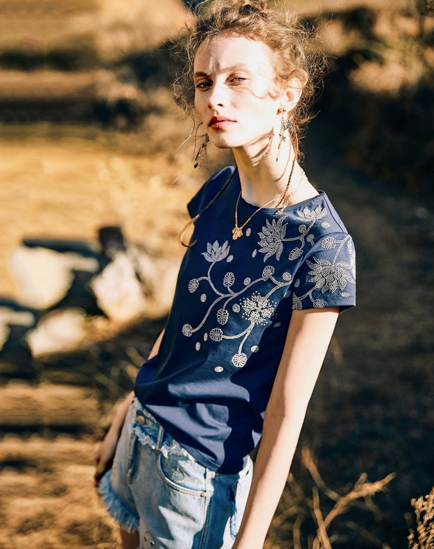 Blue Regular Collar Short Sleeve Standard Women's T-Shirt