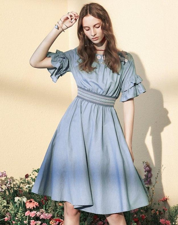 Blue Round Neck Sleeve A Line Standard Women's Dress