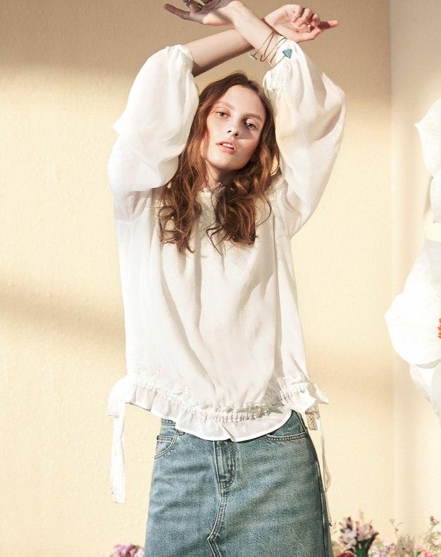 White Plain Stand Collar Elastic Long Sleeve Women's Shirt