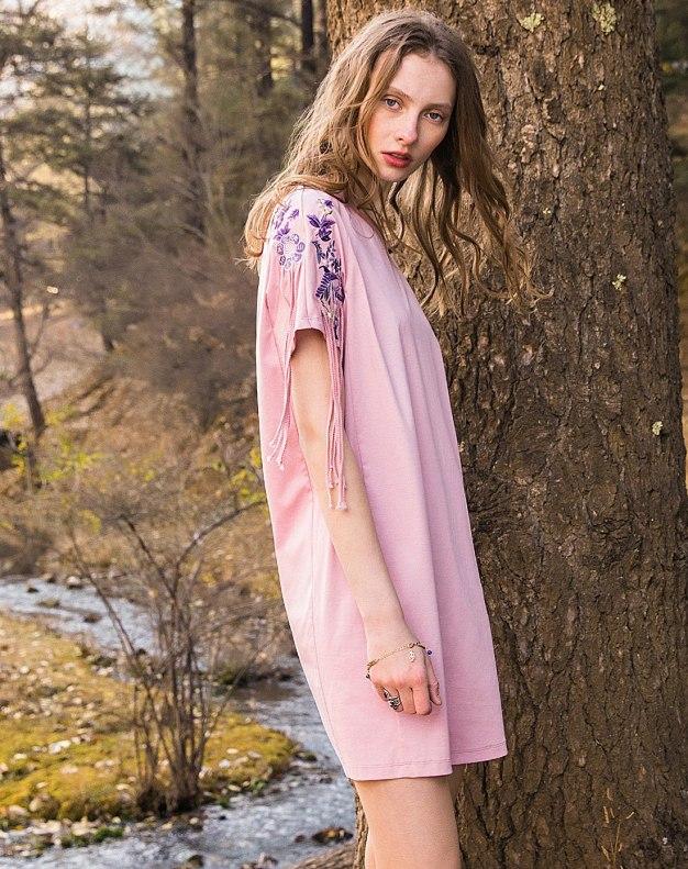 Pink Round Neck Sleeve Standard Women's Dress