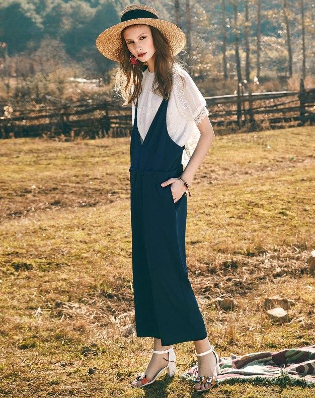 Blue Open Line Long Women's Pants