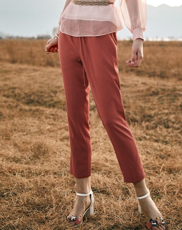 Red Open Line Cropped Women's Pants
