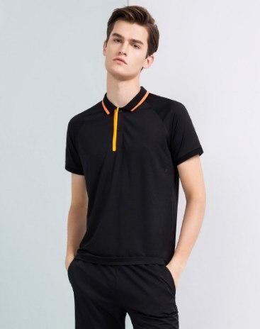 Black Plain Lapel Short Sleeve Fitted Men's Polo