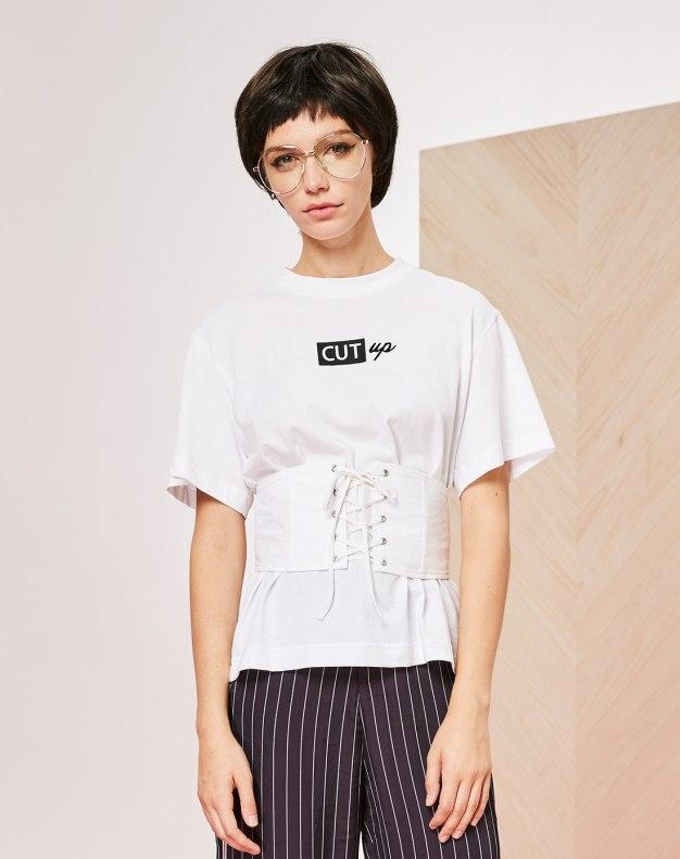 화이트 알파벳 반팔 슬림핏 여성 티셔츠
