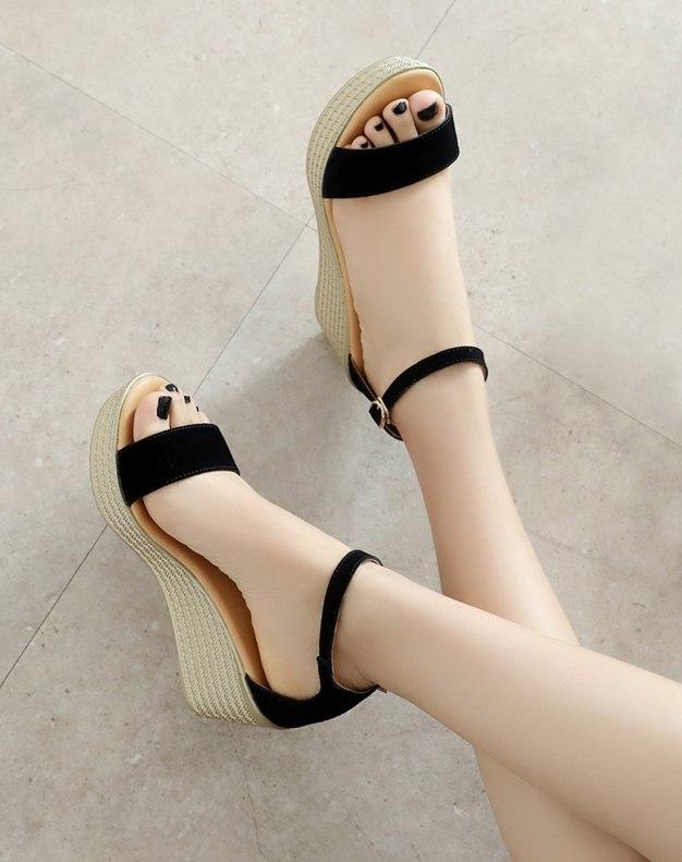 Black Wedges Women's Sandals
