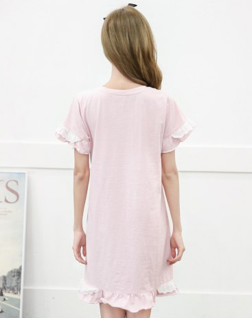 Pink Cotton Short Sleeve Standard Women's Sleepwear