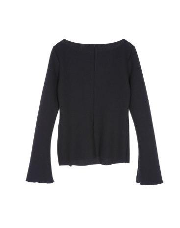 Black Plain Off Neckline Long Sleeve Women's Knitwear