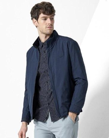 Indigo Stand Collar Long Sleeve Standard Men's  Jacket