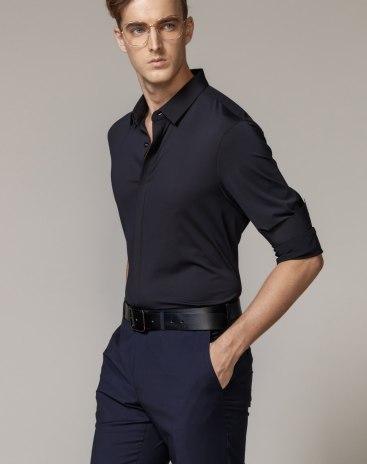 Black Plain Lapel Long Sleeve Fitted Men's Shirt