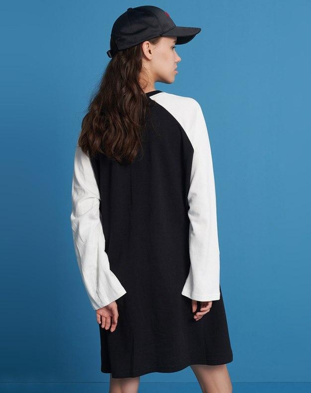 Black Round Neck Long Sleeve 3/4 Length Women's Dress