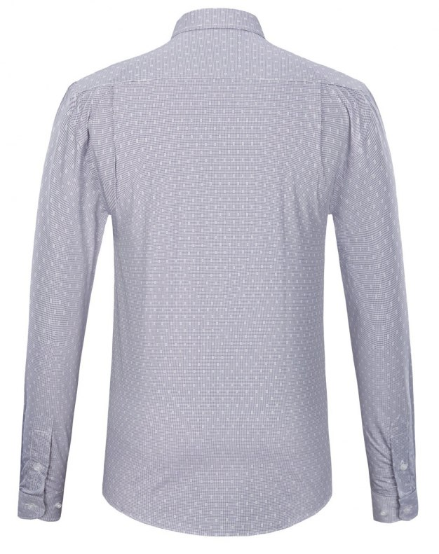 Gray Pointed Collar Long Sleeve Standard Men's Shirt