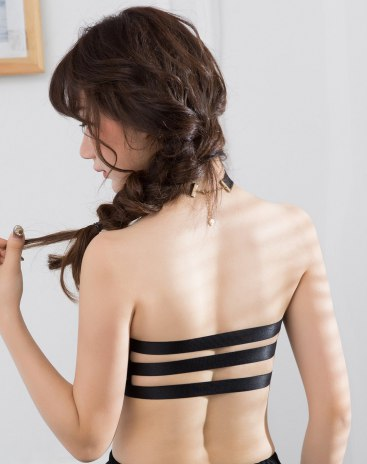 Black Spandex(Lycra) Strapless Women's Bra