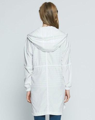 White Plain Regular Collar Long Sleeve Loose Women's Outerwear