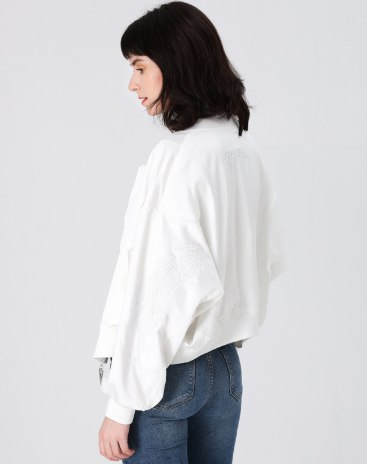White Plain Baseball collar Long Sleeve Women's Outerwear