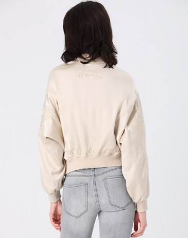 Apricot Plain Baseball collar Long Sleeve Women's Outerwear