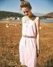 White V Neck Sleeveless Pencil Skirt Standard Women's Dress