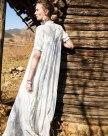 White Stand Collar Short Sleeve Long Standard Women's Dress