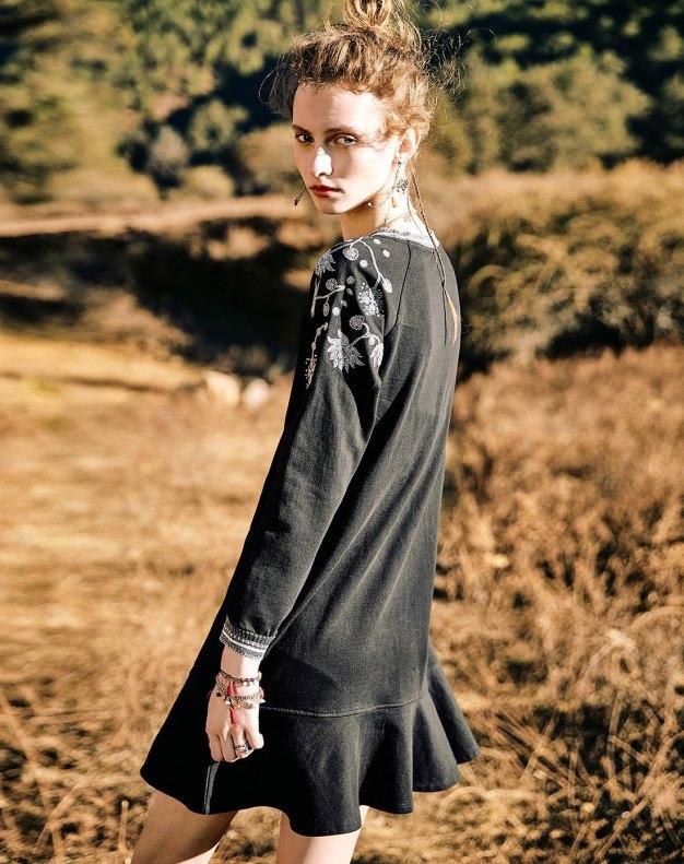 Black Round Neck Cropped Sleeve Standard Women's Dress