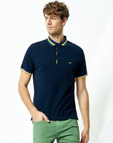 Indigo Plain Neck Short Sleeve Standard Men's Polo