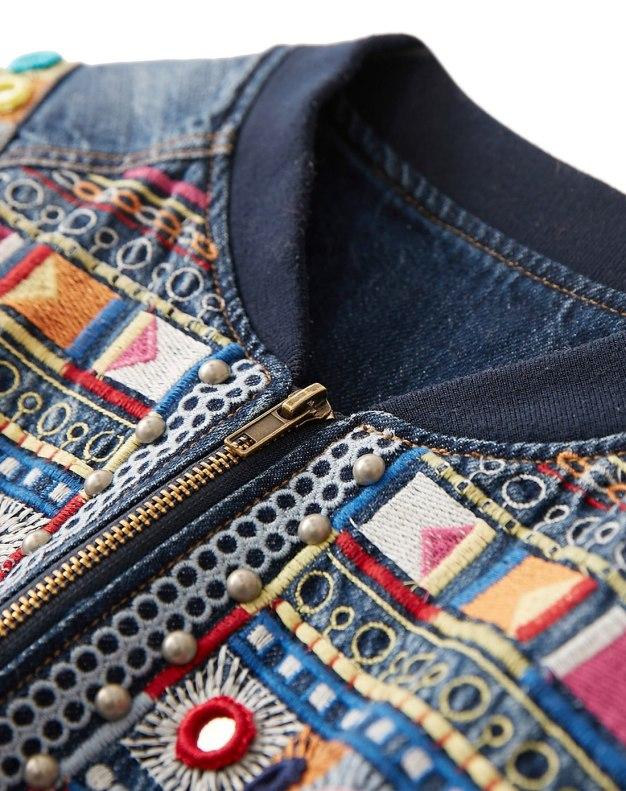 Blue Collarless Long Sleeve Standard Women's Outerwear