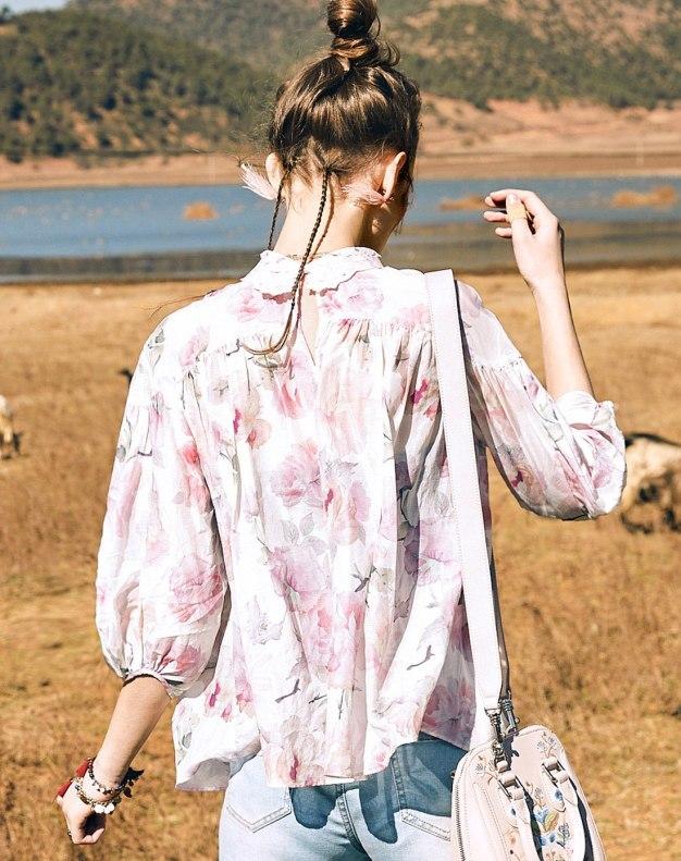 Colourful High Neck Elastic Long Sleeve Standard Women's Shirt
