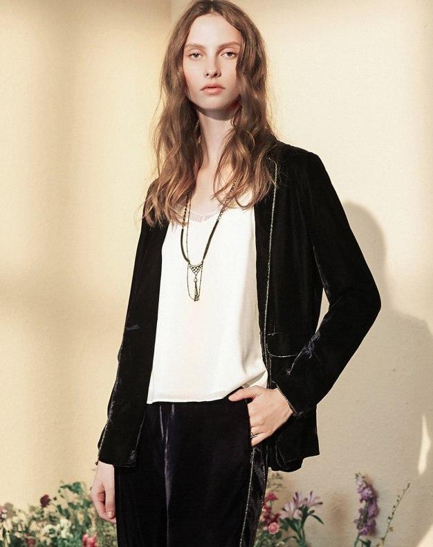 Blue Lapel Long Sleeve Standard Women's Outerwear