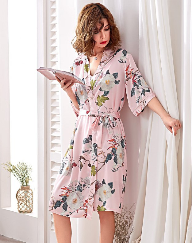 Pink Polyester Thin Women's Night-Robe