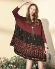 Red Round Neck Cropped Sleeve Standard Women's Dress