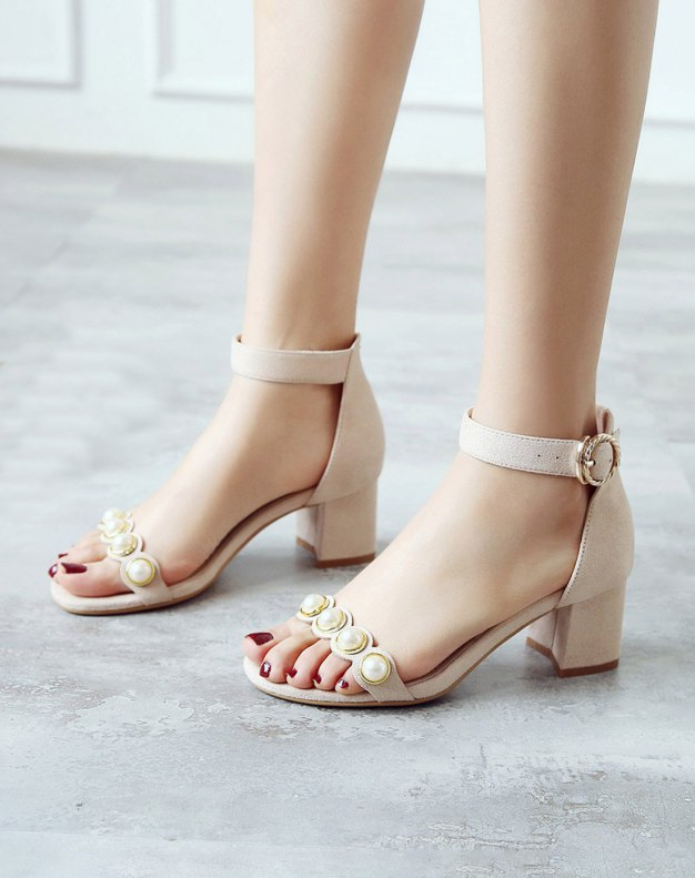 Apricot Middle Heel Women's Sandals