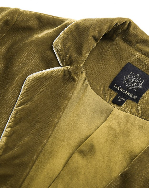Green Lapel Long Sleeve Standard Women's Outerwear